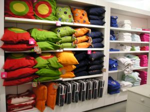 clothing on shelves