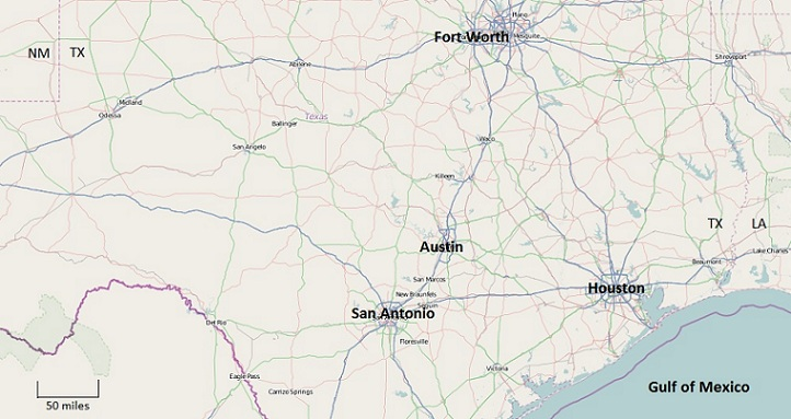 map of central Texas showing Austin