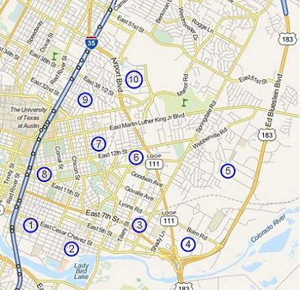 map of east Austin