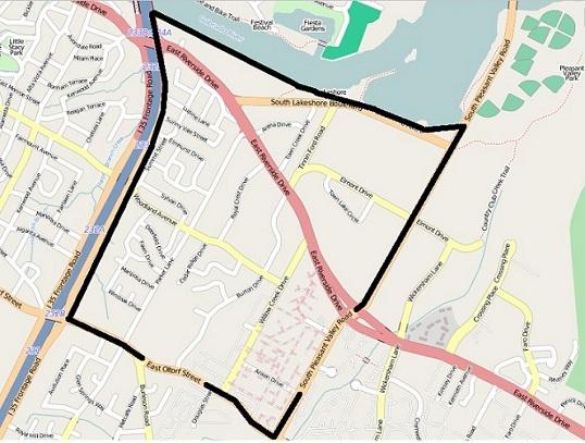 Riverside outline map