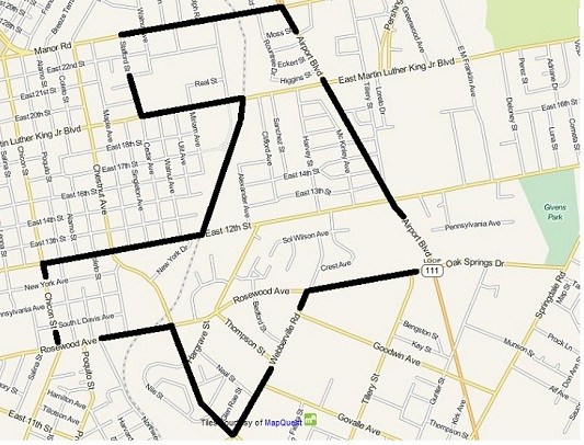 Rosewood outline map