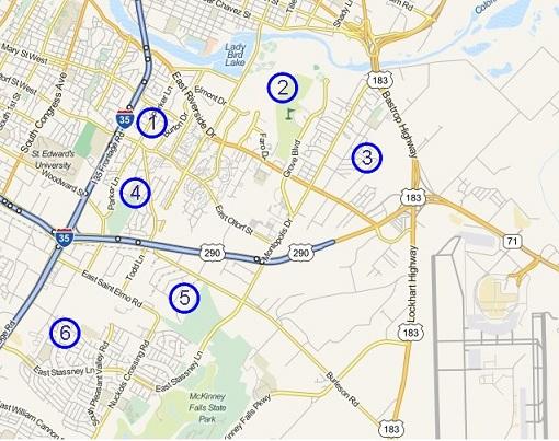 map of southeast Austin