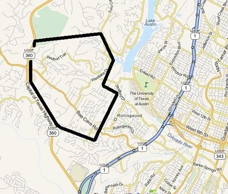West Lake Hills outline map