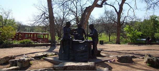 statues at Zilker Park